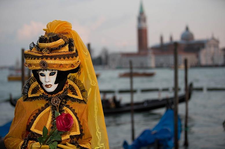 Masked costume wearer, Venice