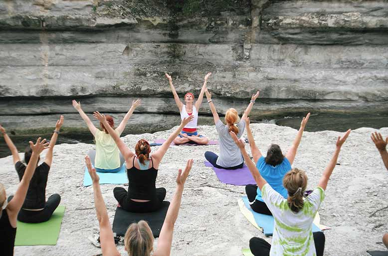 Join and meet friends at a yoga retreat.