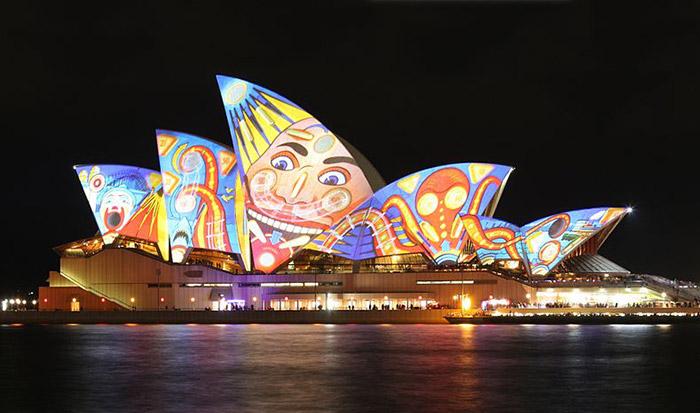 Sydney Opera House during Vivid Sydney, Australia.