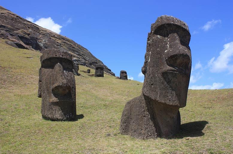 Moais. Rano Rarak, Easter Island, Chile.
