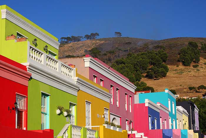The multi-coloured houses of Bo-Kaap in Cape Town, South Africa.
