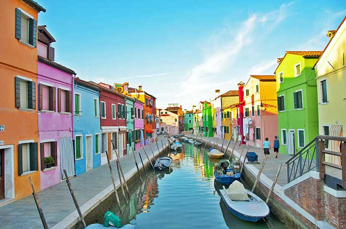 The colourful buildings on Burano Island in Venice, Italy.