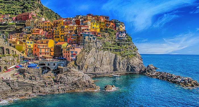The multicoloured houses of Cinque Terre, Italy.