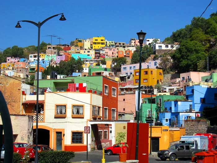 Colourful hillside in Guanajuato, Mexico.