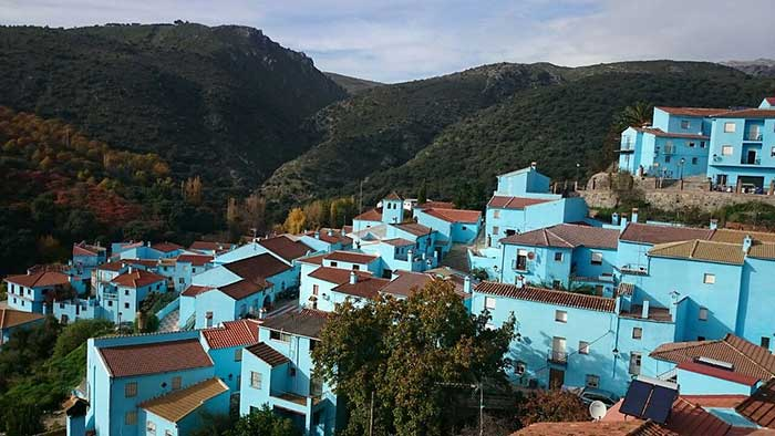 The blue buildings of Juzcar, Spain.