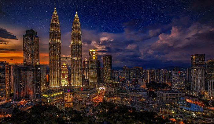 Kuala Lumpur, Malaysia at night.