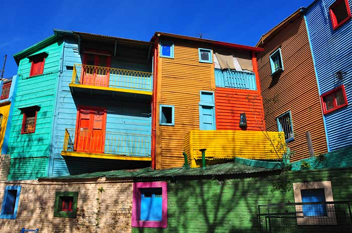 The colourful houses of La Boca in Buenos Aires, Argentina.