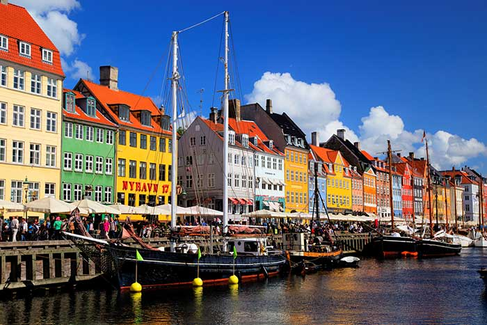 The colourful waterfront in Nyhavn, Copenhagen, Denmark.