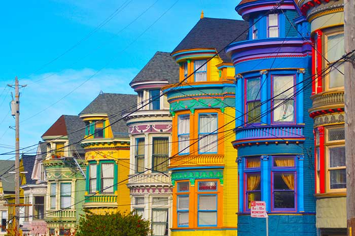 Colourful houses of the Haight-Ashbury District, San Francisco, USA.